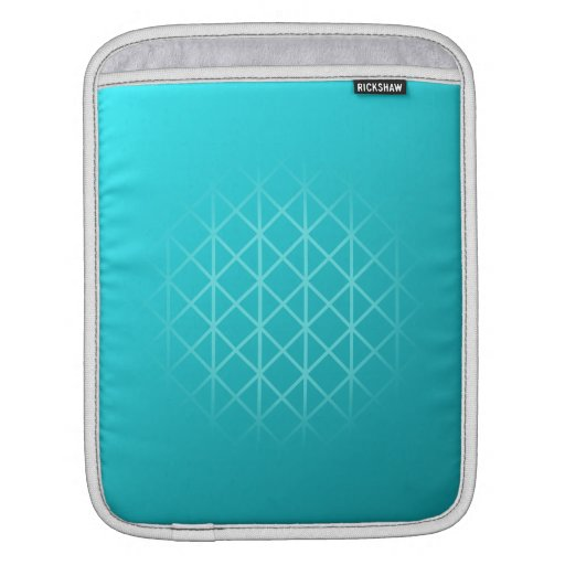 Teal Color Background Design with Grid Pattern. iPad Sleeve