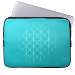 Teal Color Background Design with Grid Pattern. Laptop Sleeves