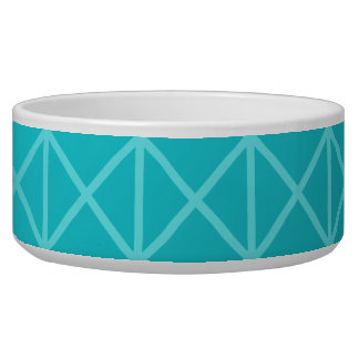 Teal Color Background Design with Grid Pattern. Pet Water Bowl