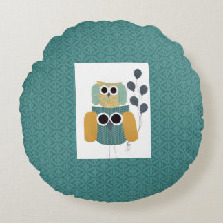 Teal Color Green Bluish Greenish Round Pillow