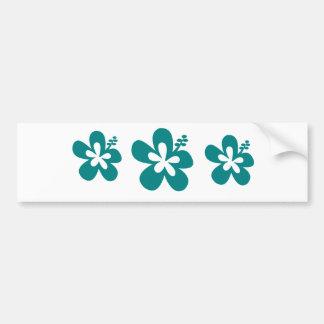 teal color hibiscus flower design bumper sticker