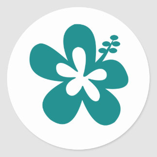 teal color hibiscus flower design classic round sticker