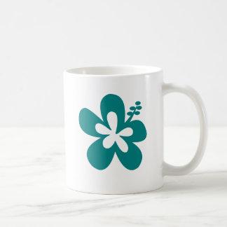 teal color hibiscus flower design coffee mug