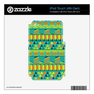 Teal Colorful Abstract Aztec Tribal Print Pattern iPod Touch 4G Decals