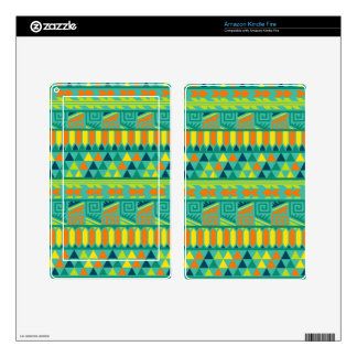 Teal Colorful Abstract Aztec Tribal Print Pattern Kindle Fire Decals
