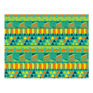 Teal Colorful Abstract Aztec Tribal Print Pattern Postcard