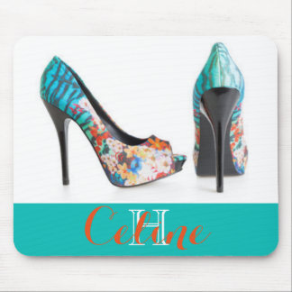 Teal Colorful High Heels Mouse Pad