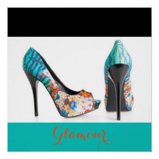 Teal Colorful High Heels Poster