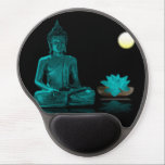 """Teal Colour Buddha Meditating at Night Mousepad<br><div class=""""desc"""">Teal colour Buddha figure in seated meditation with lotus and full moon.</div>"""