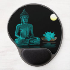 Teal Colour Buddha Meditating At Night Mousepad at Zazzle