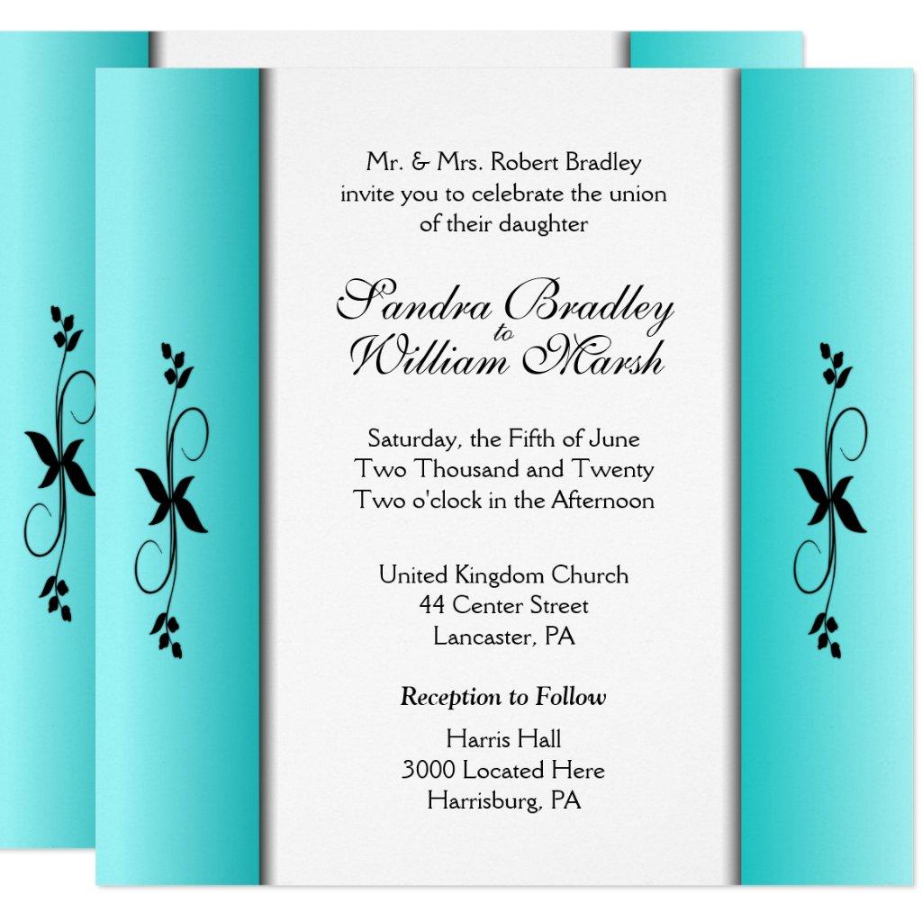 Teal Columns Wedding Invitations