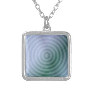 Teal concentric rings square pendant necklace