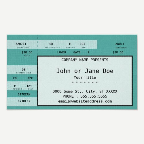 teal concert ticket poster