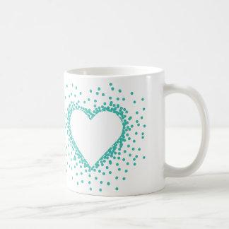 Teal Confetti Heart Mug