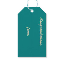 Teal Congratulations (gold script) Gift Tags