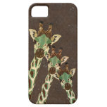 Teal & Copper Giraffes Damask iPhone Case iPhone 5 Covers
