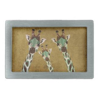 Teal & Copper Giraffes Gold Belt Buckle