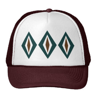 Teal & Copper Retro Diamond Trio Trucker Hats