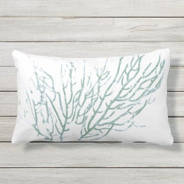 Beach Themed Teal Coral 2 Outdoor Pillow