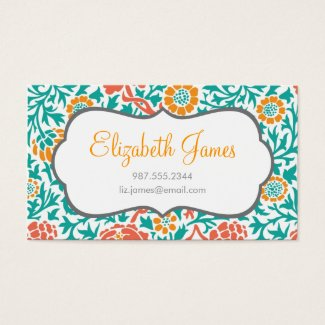 Teal Coral and Orange Retro Floral Damask Business Card