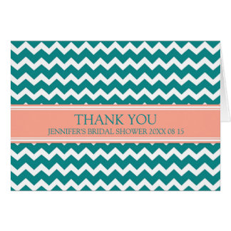 Teal Coral Chevron Bridal Shower Thank You Card
