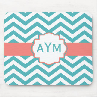 Teal Coral Chevron Personalized Mousepad