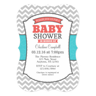 Teal Coral Gray Chevron Baby Shower Invitation