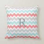 Teal Coral Gray Chevrons Pattern Monogram Pillow