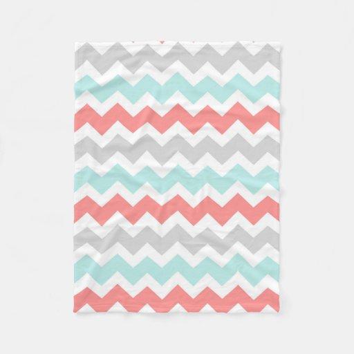 Teal Coral Grey Chevron Pattern Blanket Zazzle