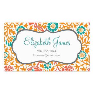 Teal Coral & Orange Retro Floral Damask Business Card Template