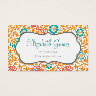 Teal Coral & Orange Retro Floral Damask Business Card