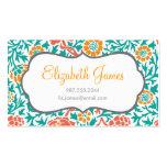 Teal Coral & Orange Retro Floral Damask Business Cards