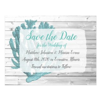 Teal Coral Personalized Save the Date Postcard