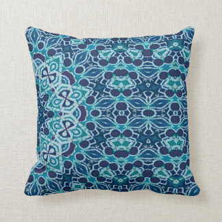teal coral reef kaleidoscope batik pillows