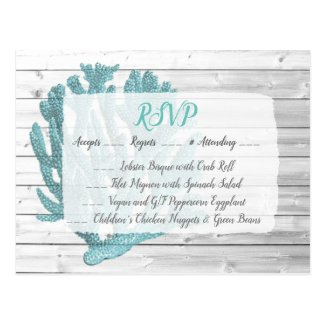 Teal Coral RSVP Wedding Postcard