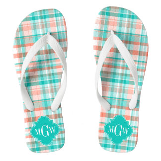 Teal Coral White Preppy Madras Monogram Flip Flops