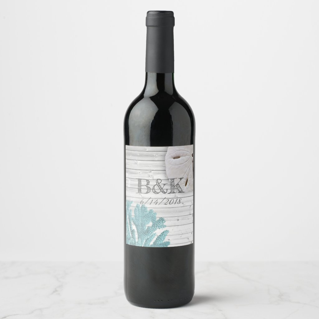 Teal Coral White Washed Wood Beach Wedding Custom Wine Label