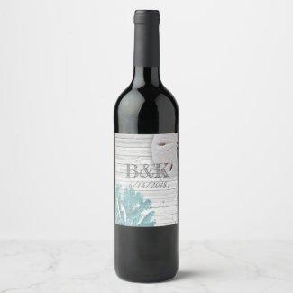 Teal Coral White Washed Wood Beach Wedding Custom Wine Label