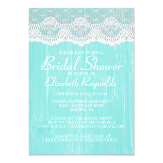 """Teal Country Lace Bridal Shower Invitations 5"""" X 7"""" Invitation Card"""
