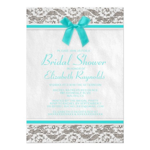 Teal Country Lace Bridal Shower Invitations Personalized Announcements