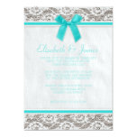 Teal Country Lace Wedding Invitations Custom Announcements
