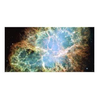 Teal Crab Nebula Photo Greeting Card