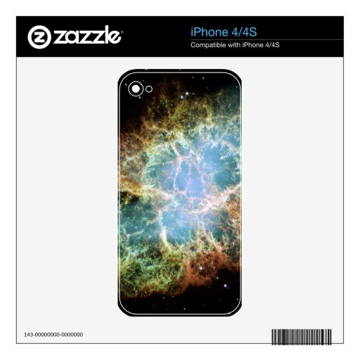 Teal Crab Nebula Decal For iPhone 4