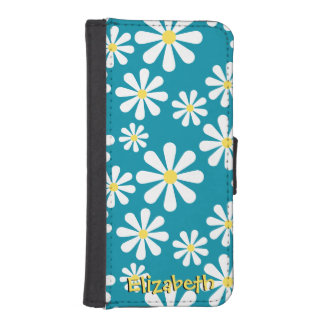 Teal Crazy Daisy Blue White Yellow Personalized Wallet Phone Case For iPhone SE/5/5s