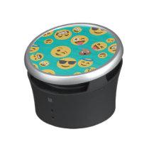 Teal Crazy Emoji Pattern Bluetooth Speaker