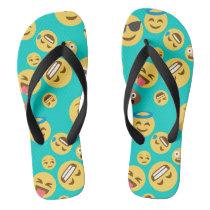 Teal Crazy Emoji Pattern Flip Flops
