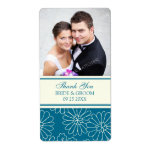 Teal Cream Floral Photo Wedding Labels