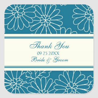 Teal Cream Thank You Wedding Favor Tags Square Sticker