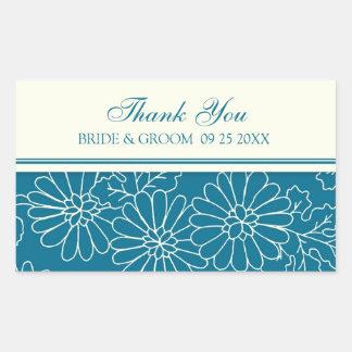 Teal Cream Thank You Wedding Favor Tags Rectangular Sticker