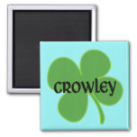 Teal Crowley Magnet with Shamrock